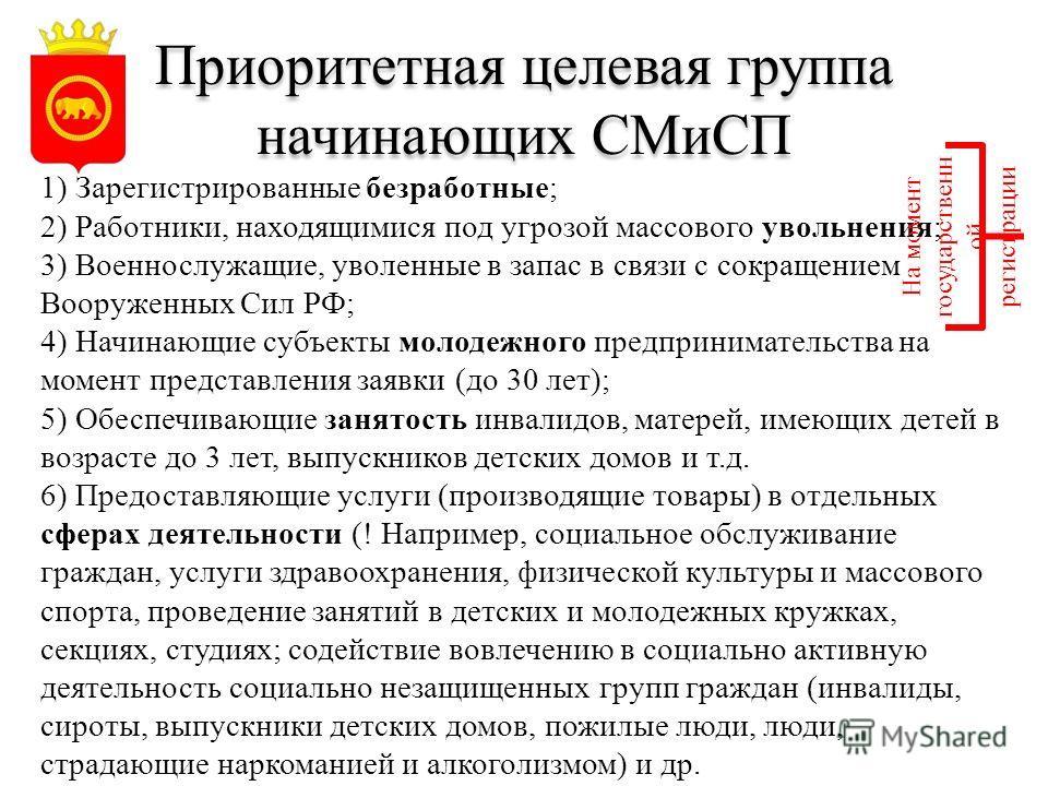 Приоритетная целевая группа начинающих СМиСП 1) Зарегистрированные безработные; 2) Работники, находящимися под угрозой массового увольнения; 3) Военнослужащие, уволенные в запас в связи с сокращением Вооруженных Сил РФ; 4) Начинающие субъекты молодеж