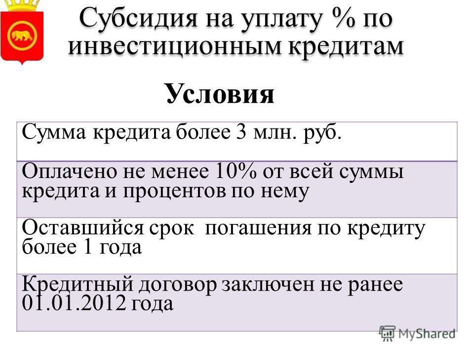 Субсидия на уплату % по инвестиционным кредитам Сумма кредита более 3 млн. руб. Оплачено не менее 10% от всей суммы кредита и процентов по нему Оставшийся срок погашения по кредиту более 1 года Кредитный договор заключен не ранее 01.01.2012 года Усло