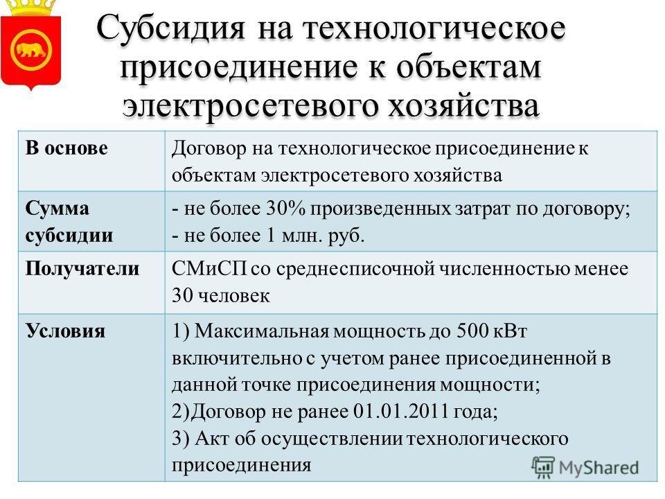 Субсидия на технологическое присоединение к объектам электросетевого хозяйства В основе Договор на технологическое присоединение к объектам электросетевого хозяйства Сумма субсидии - не более 30% произведенных затрат по договору; - не более 1 млн. ру