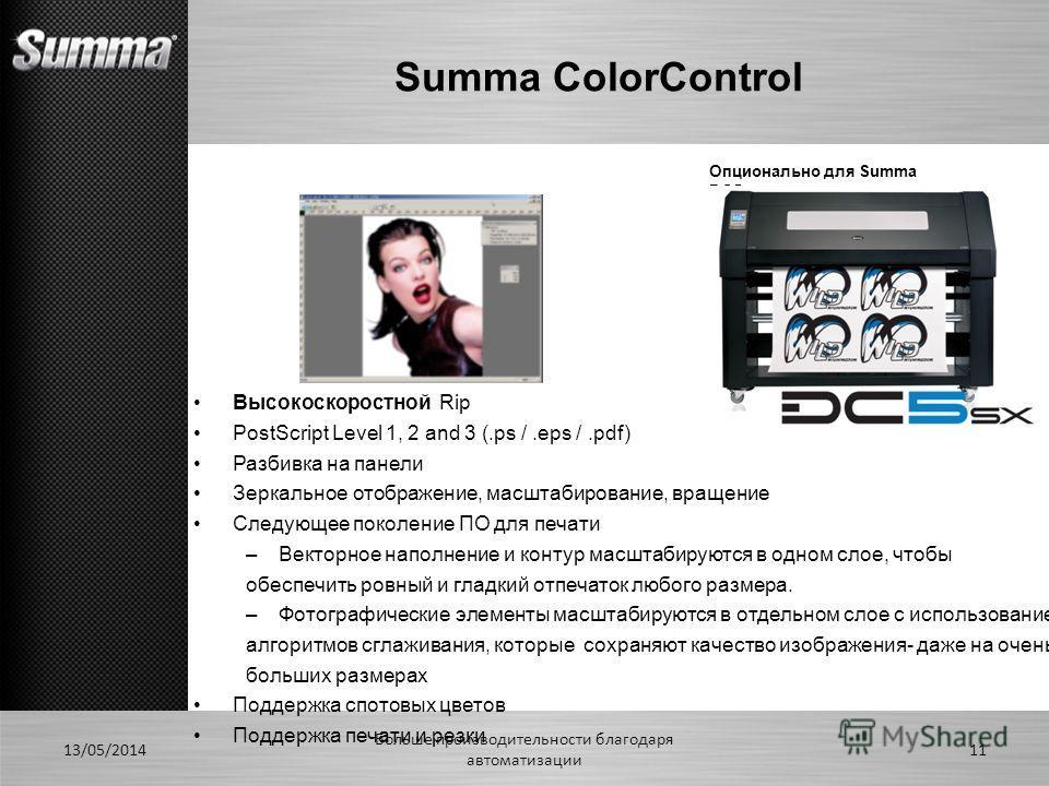 Summa ColorControl 13/05/2014 Больше производительности благодаря автоматизации 11 Высокоскоростной Rip PostScript Level 1, 2 and 3 (.ps /.eps /.pdf) Разбивка на панели Зеркальное отображение, масштабирование, вращение Следующее поколение ПО для печа