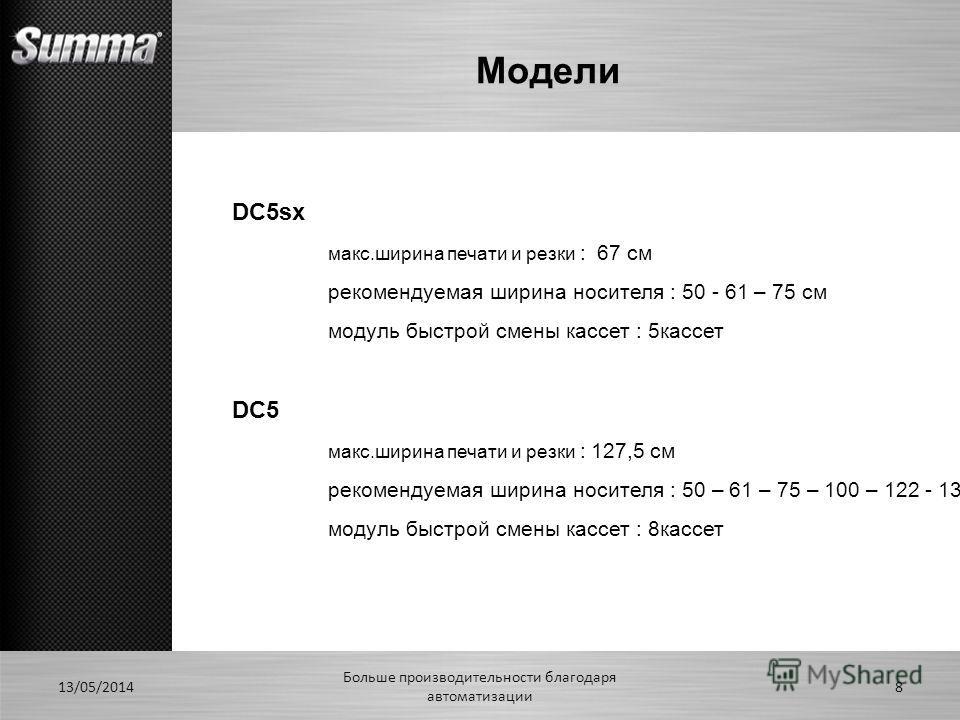 Модели 13/05/2014 Больше производительности благодаря автоматизации 8 DC5sx макс.ширина печати и резки : 67 см рекомендуемая ширина носителя : 50 - 61 – 75 см модуль быстрой смены кассет : 5кассет DC5 макс.ширина печати и резки : 127,5 см рекомендуем