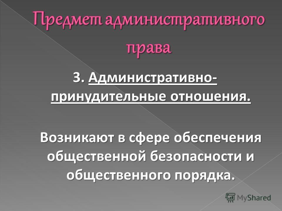3. Административно- принудительные отношения. Возникают в сфере обеспечения общественной безопасности и общественного порядка.
