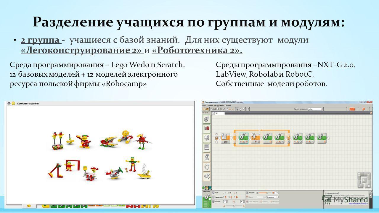 Разделение учащихся по группам и модулям: 2 группа - учащиеся с базой знаний. Для них существуют модули «Легоконструирование 2» и «Робототехника 2». Среда программирования – Lego Wedo и Scratch. 12 базовых моделей + 12 моделей электронного ресурса по