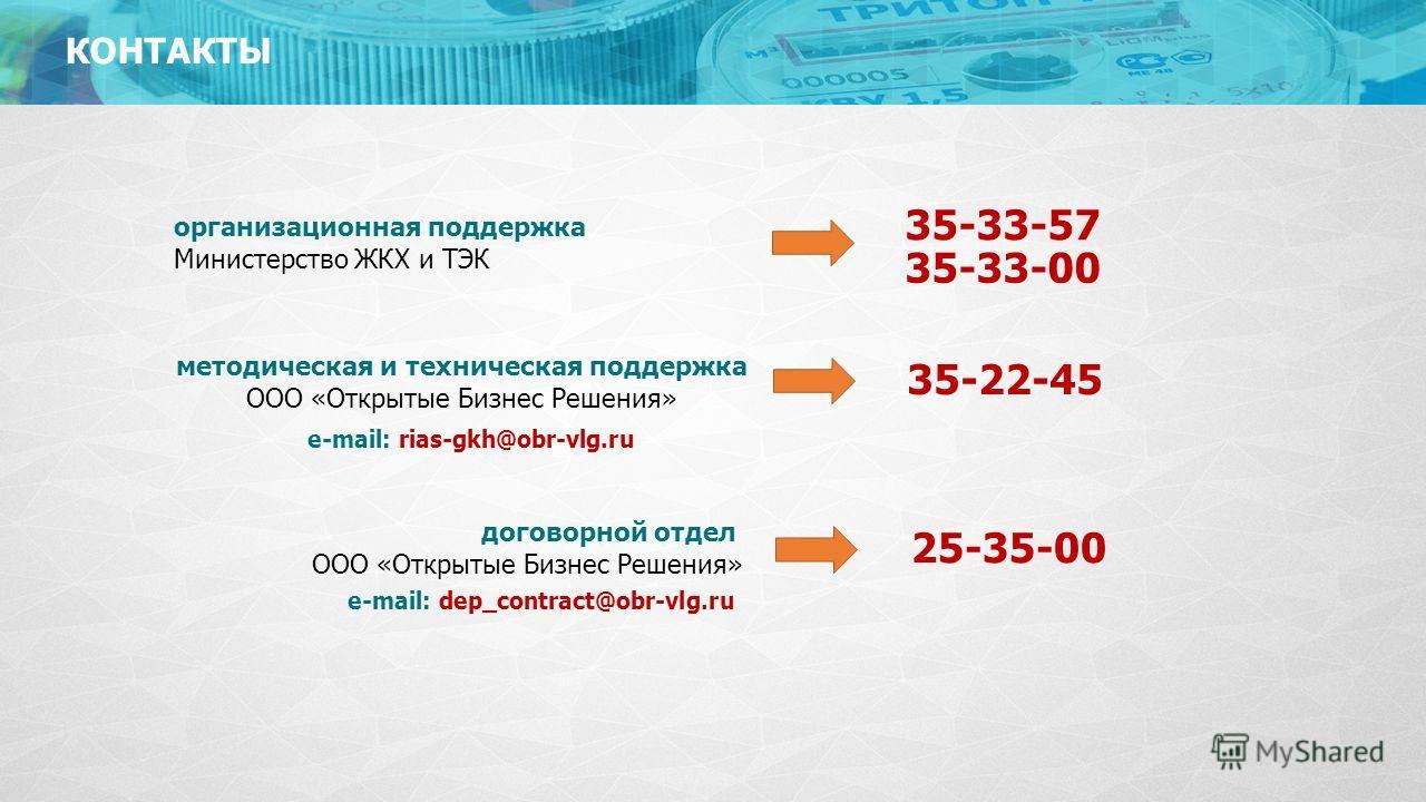 КОНТАКТЫ 35-33-57 организационная поддержка Министерство ЖКХ и ТЭК 35-22-45 методическая и техническая поддержка ООО «Открытые Бизнес Решения» 25-35-00 договорной отдел ООО «Открытые Бизнес Решения» e-mail: rias-gkh@obr-vlg.ru e-mail: dep_contract@ob