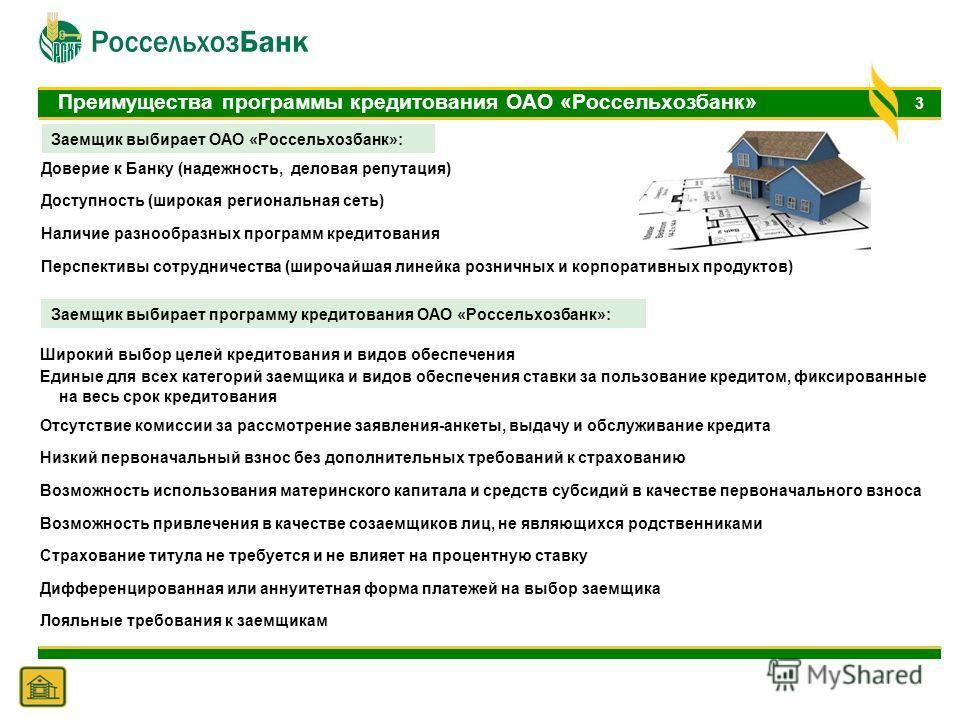 3 Преимущества программы кредитования ОАО «Россельхозбанк» Доверие к Банку (надежность, деловая репутация) Доступность (широкая региональная сеть) Наличие разнообразных программ кредитования Перспективы сотрудничества (широчайшая линейка розничных и
