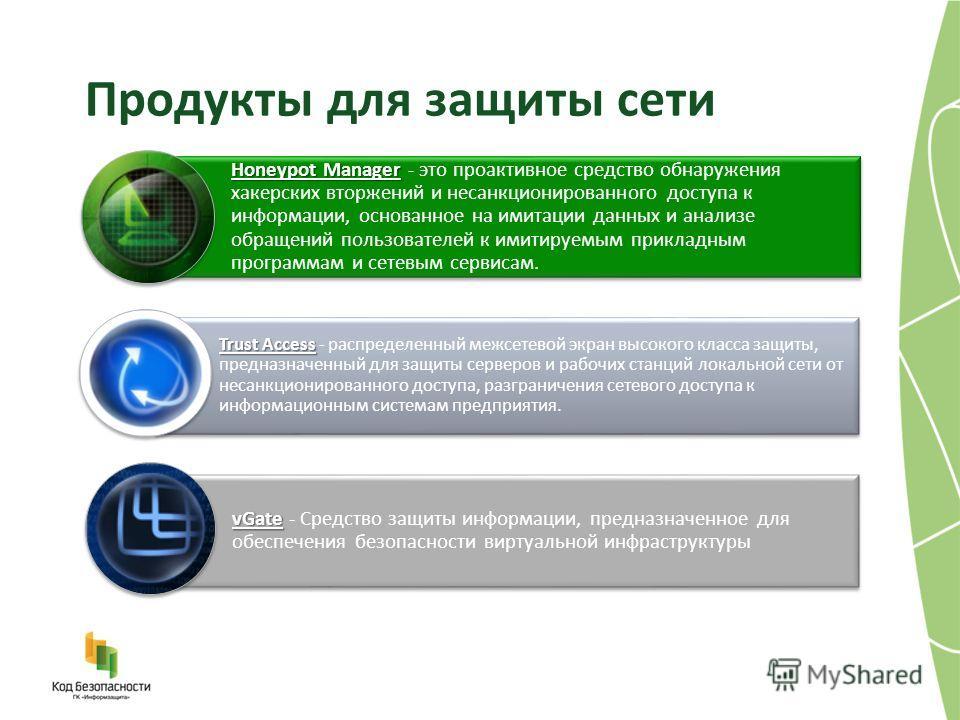 Продукты для защиты сети Honeypot Manager Honeypot Manager - это проактивное средство обнаружения хакерских вторжений и несанкционированного доступа к информации, основанное на имитации данных и анализе обращений пользователей к имитируемым прикладны