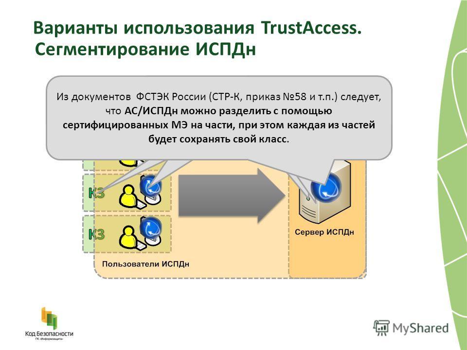 Варианты использования TrustAccess. Сегментирование ИСПДн В ИСПДн обрабатывается более 100000 записей ПДн второй категории (ФИО, место работы, семейное положение) ИСПДн классифицируется как К1 На каждом АРМ пользователя ИСПДн одновременно обрабатывае
