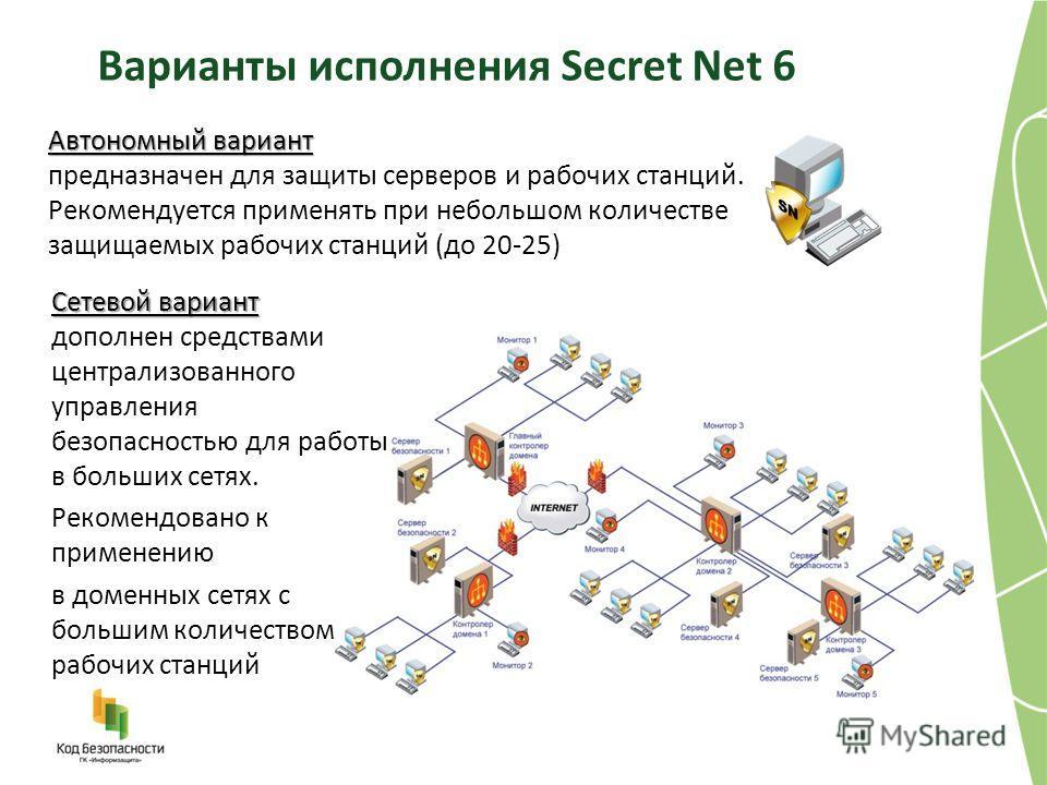 Варианты исполнения Secret Net 6 Автономный вариант Автономный вариант предназначен для защиты серверов и рабочих станций. Рекомендуется применять при небольшом количестве защищаемых рабочих станций (до 20-25) Сетевой вариант Сетевой вариант дополнен