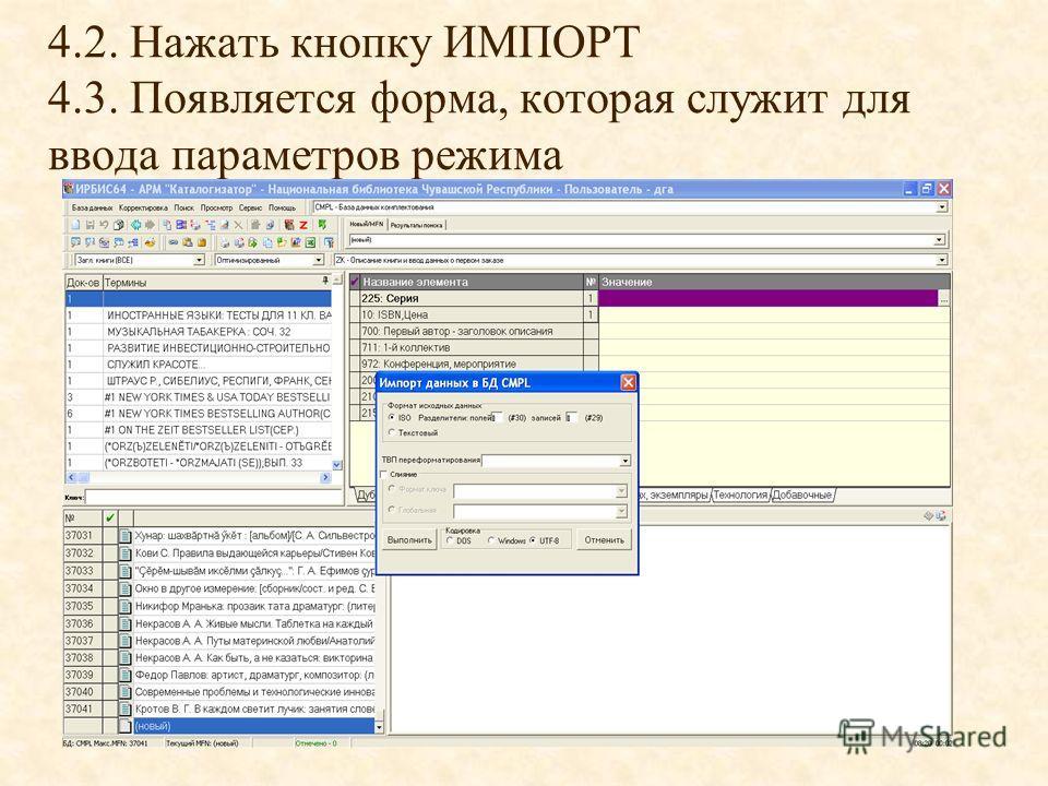 4.2. Нажать кнопку ИМПОРТ 4.3. Появляется форма, которая служит для ввода параметров режима