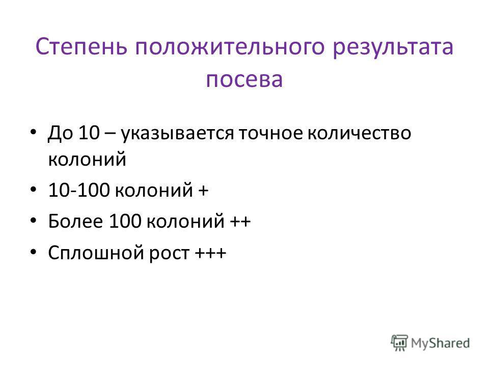 Степень положительного результата посева До 10 – указывается точное количество колоний 10-100 колоний + Более 100 колоний ++ Сплошной рост +++