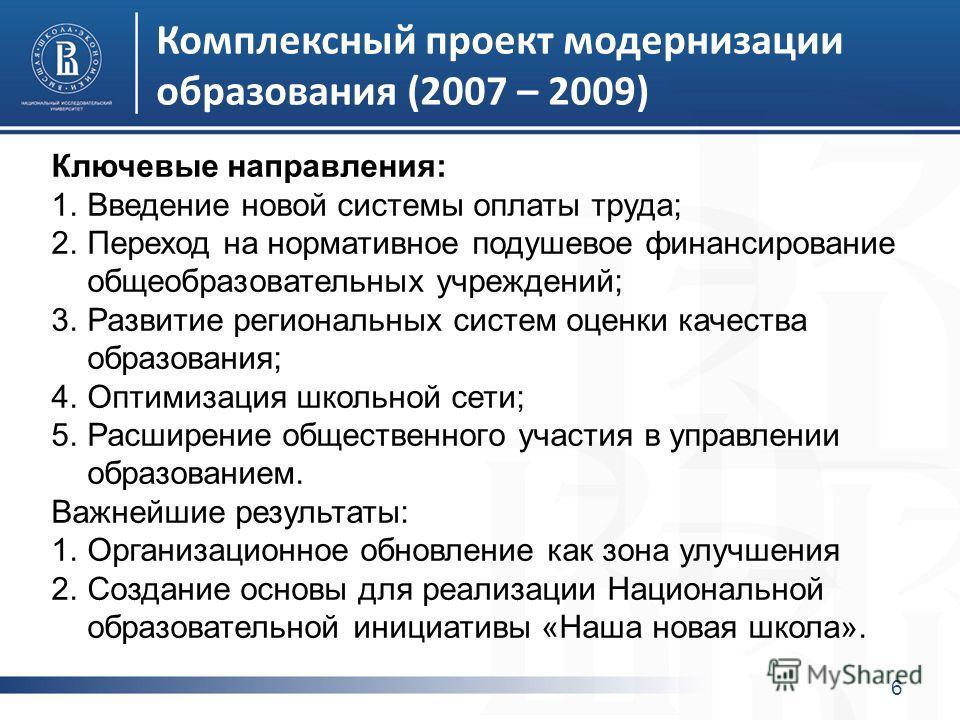 Комплексный проект модернизации образования (2007 – 2009) 6 Ключевые направления: 1.Введение новой системы оплаты труда; 2.Переход на нормативное подушевое финансирование общеобразовательных учреждений; 3.Развитие региональных систем оценки качества