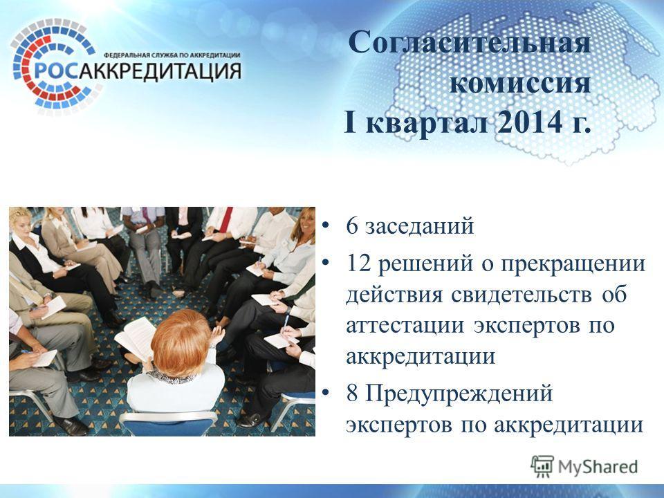 Согласительная комиссия I квартал 2014 г. 6 заседаний 12 решений о прекращении действия свидетельств об аттестации экспертов по аккредитации 8 Предупреждений экспертов по аккредитации