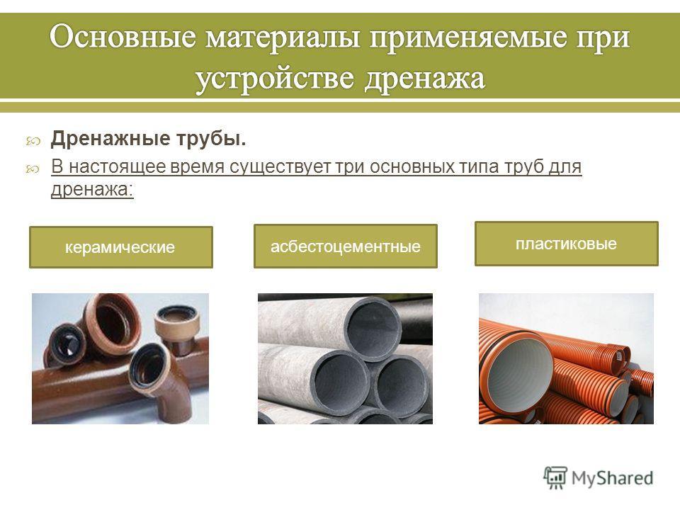 Дренажные трубы. В настоящее время существует три основных типа труб для дренажа : керамические асбестоцементные пластиковые
