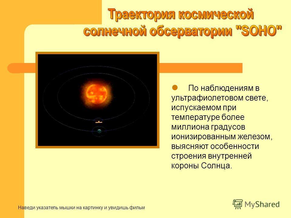 По наблюдениям в ультрафиолетовом свете, испускаемом при температуре более миллиона градусов ионизированным железом, выясняют особенности строения внутренней короны Солнца. Наведи указатель мышки на картинку и увидишь фильм