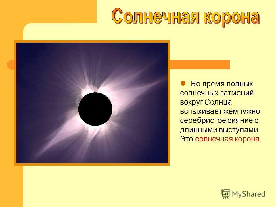 Во время полных солнечных затмений вокруг Солнца вспыхивает жемчужно- серебристое сияние с длинными выступами. Это солнечная корона.
