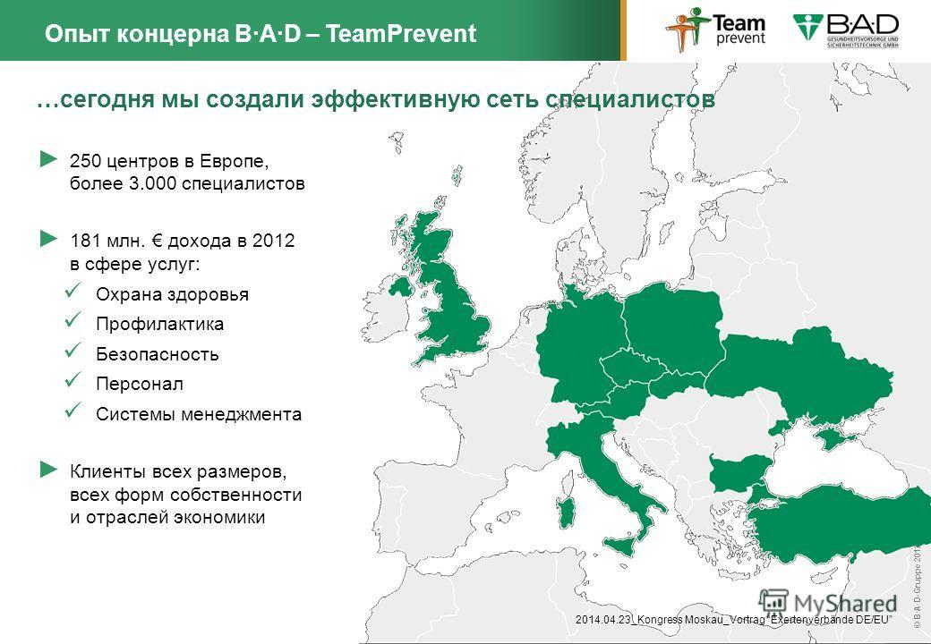 Dr. Rolf Reinecke © B·A·D-Gruppe 01/2014 © B·A·D-Gruppe 2012 …сегодня мы создали эффективную сеть специалистов Опыт концерна B·A·D – TeamPrevent 250 центров в Европе, более 3.000 специалистов 181 млн. дохода в 2012 в сфере услуг: Охрана здоровья Проф