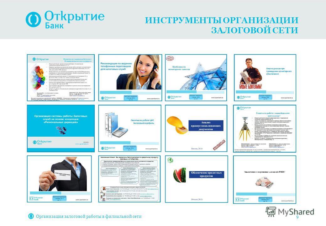 ИНСТРУМЕНТЫ ОРГАНИЗАЦИИ ЗАЛОГОВОЙ СЕТИ Организация залоговой работы в филиальной сети 9
