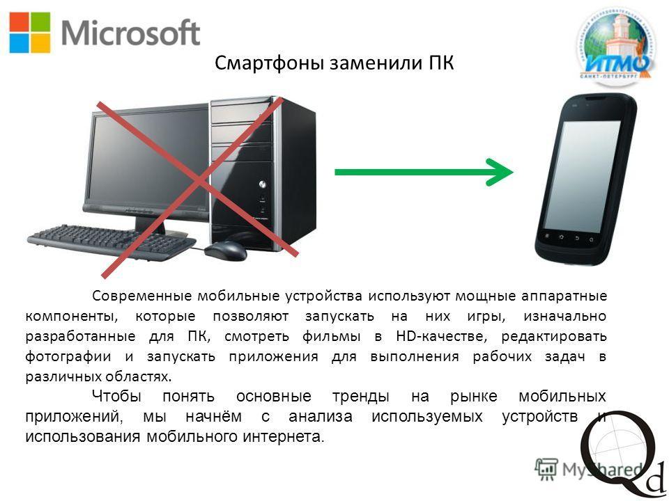 Смартфоны заменили ПК Современные мобильные устройства используют мощные аппаратные компоненты, которые позволяют запускать на них игры, изначально разработанные для ПК, смотреть фильмы в HD-качестве, редактировать фотографии и запускать приложения д