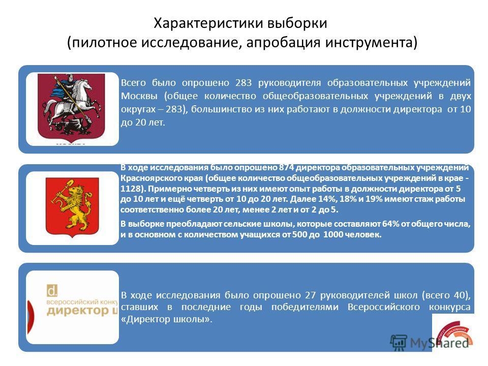 Всего было опрошено 283 руководителя образовательных учреждений Москвы (общее количество общеобразовательных учреждений в двух округах – 283), большинство из них работают в должности директора от 10 до 20 лет. В ходе исследования было опрошено 874 ди