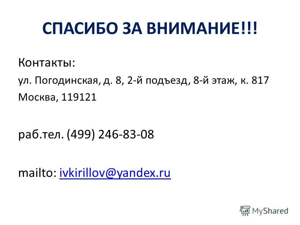 СПАСИБО ЗА ВНИМАНИЕ!!! Контакты: ул. Погодинская, д. 8, 2-й подъезд, 8-й этаж, к. 817 Москва, 119121 раб.тел. (499) 246-83-08 mailto: ivkirillov@yandex.ruivkirillov@yandex.ru