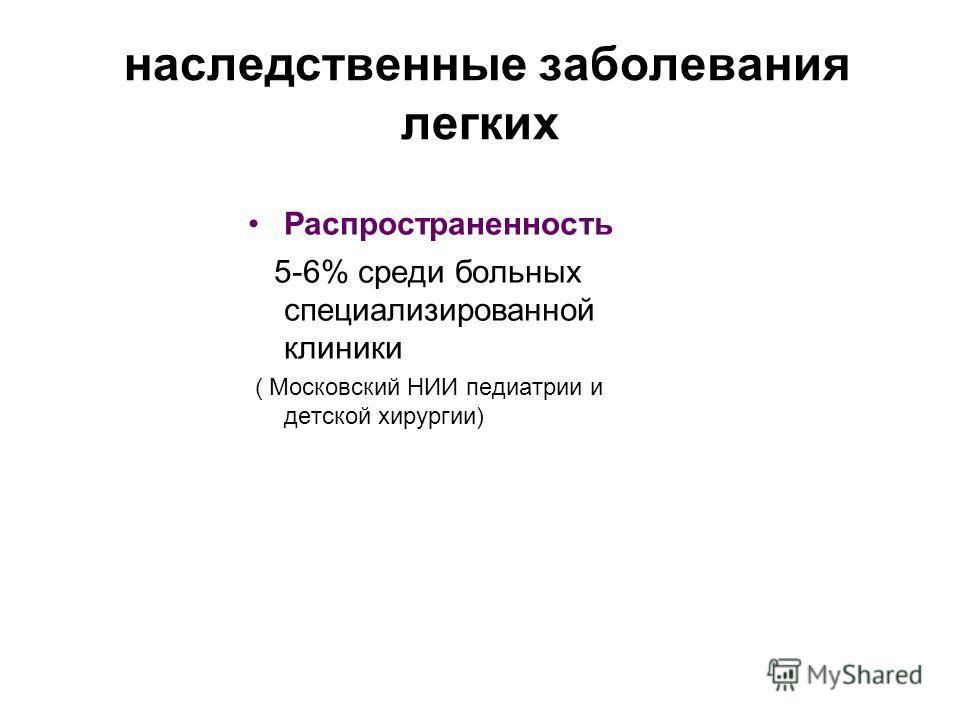 наследственные заболевания легких Распространенность 5-6% среди больных специализированной клиники ( Московский НИИ педиатрии и детской хирургии)