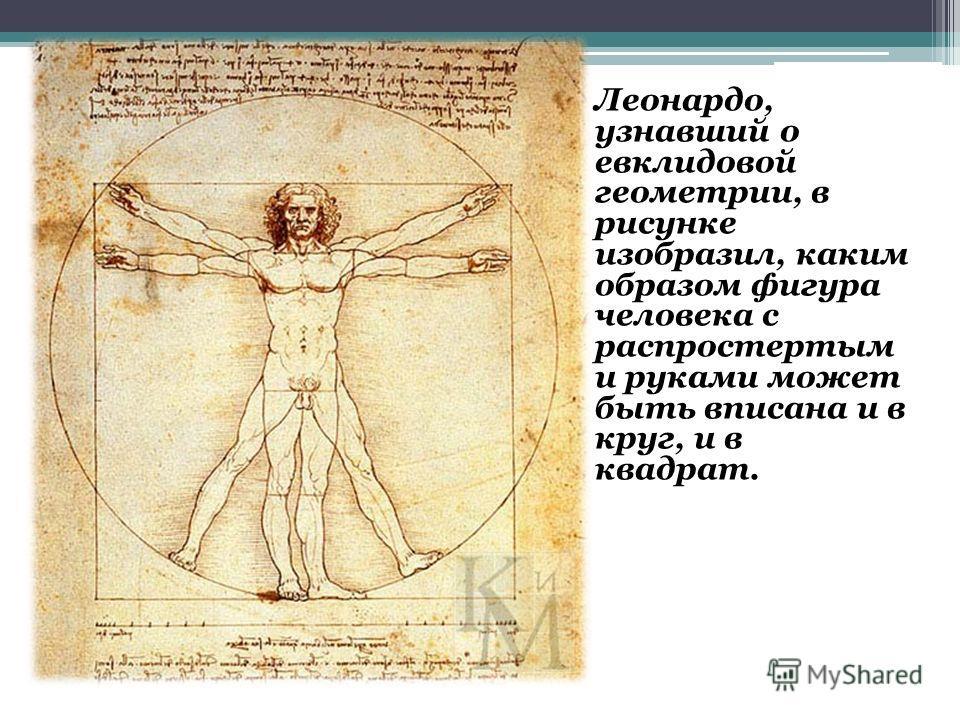 Леонардо, узнавший о евклидовой геометрии, в рисунке изобразил, каким образом фигура человека с распростертым и руками может быть вписана и в круг, и в квадрат.