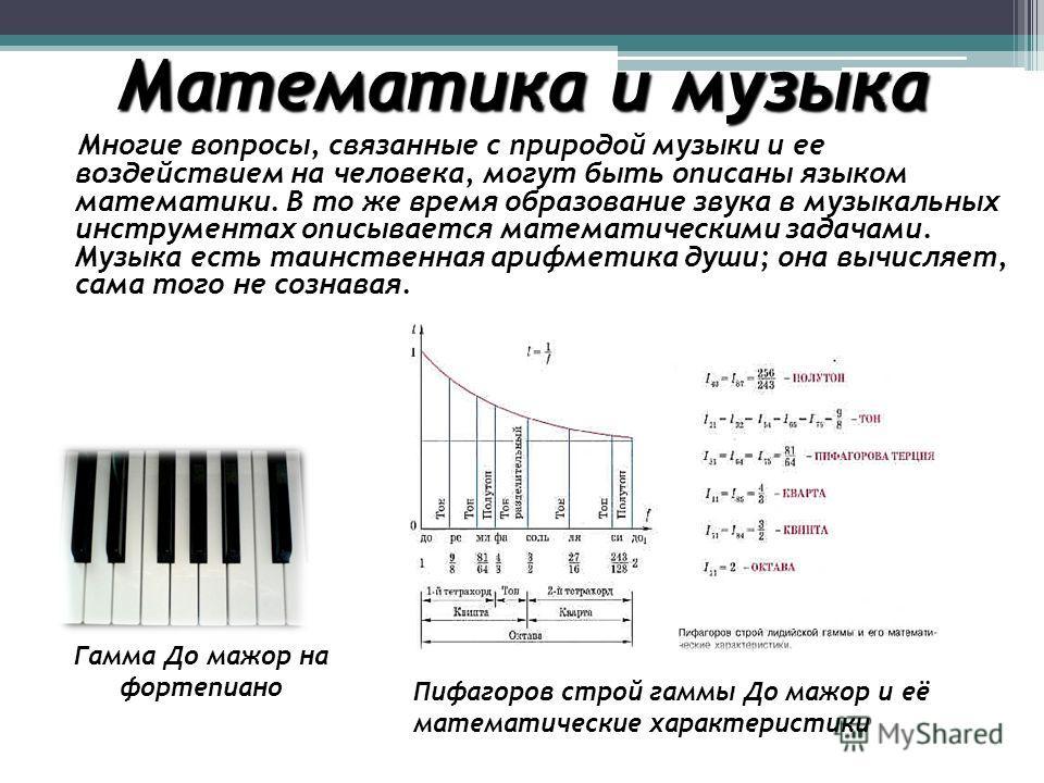 Математика и музыка Многие вопросы, связанные с природой музыки и ее воздействием на человека, могут быть описаны языком математики. В то же время образование звука в музыкальных инструментах описывается математическими задачами. Музыка есть таинстве