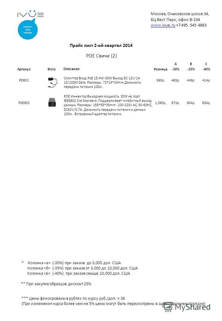 *** Цены фиксированы в рублях по курсу руб./дол. = 36 (При изменения курса более чем не 5% цены могут быть пересмотрены в одностороннем порядке) ** При закупке образцов дисконт 25% * Колонка «а» (-30%) при заказе до 3,000 дол. США Колонка «б» (-35%)