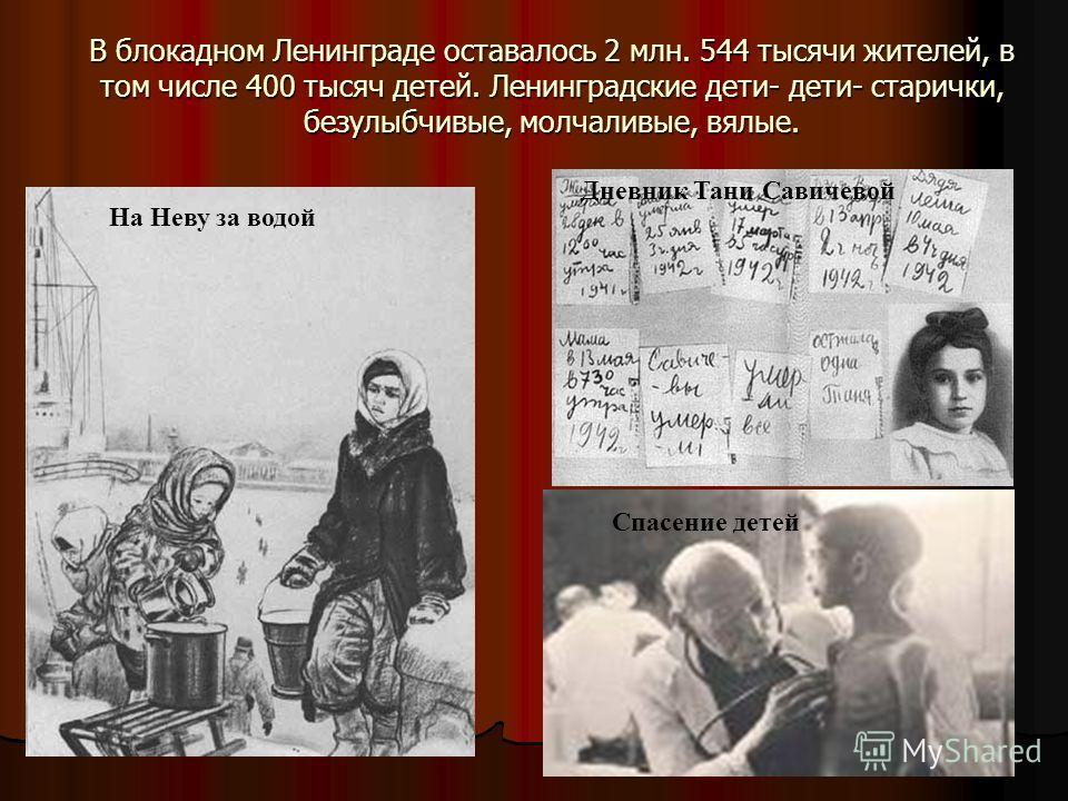 В блокадном Ленинграде оставалось 2 млн. 544 тысячи жителей, в том числе 400 тысяч детей. Ленинградские дети- дети- старички, безулыбчивые, молчаливые, вялые. На Неву за водой Дневник Тани Савичевой Спасение детей