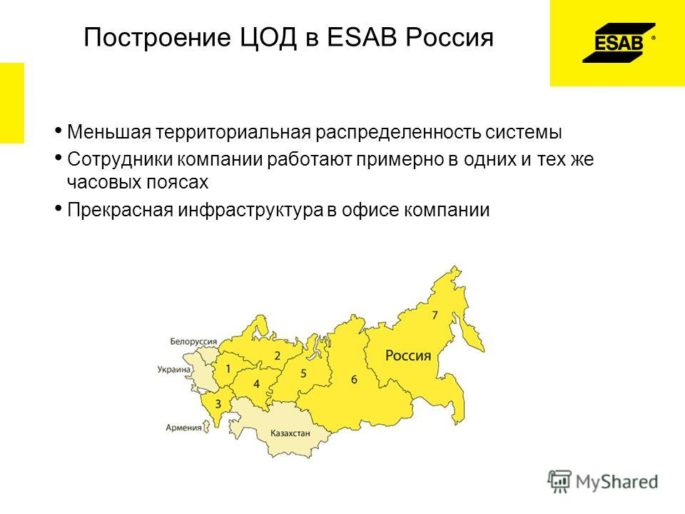 Построение ЦОД в ESAB Россия Меньшая территориальная распределенность системы Сотрудники компании работают примерно в одних и тех же часовых поясах Прекрасная инфраструктура в офисе компании