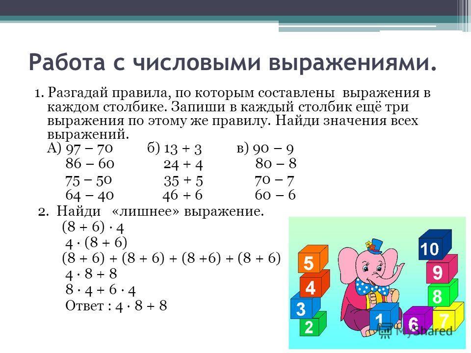 Работа с числовыми выражениями. 1. Разгадай правила, по которым составлены выражения в каждом столбике. Запиши в каждый столбик ещё три выражения по этому же правилу. Найди значения всех выражений. А) 97 – 70 б) 13 + 3 в) 90 – 9 86 – 60 24 + 4 80 – 8