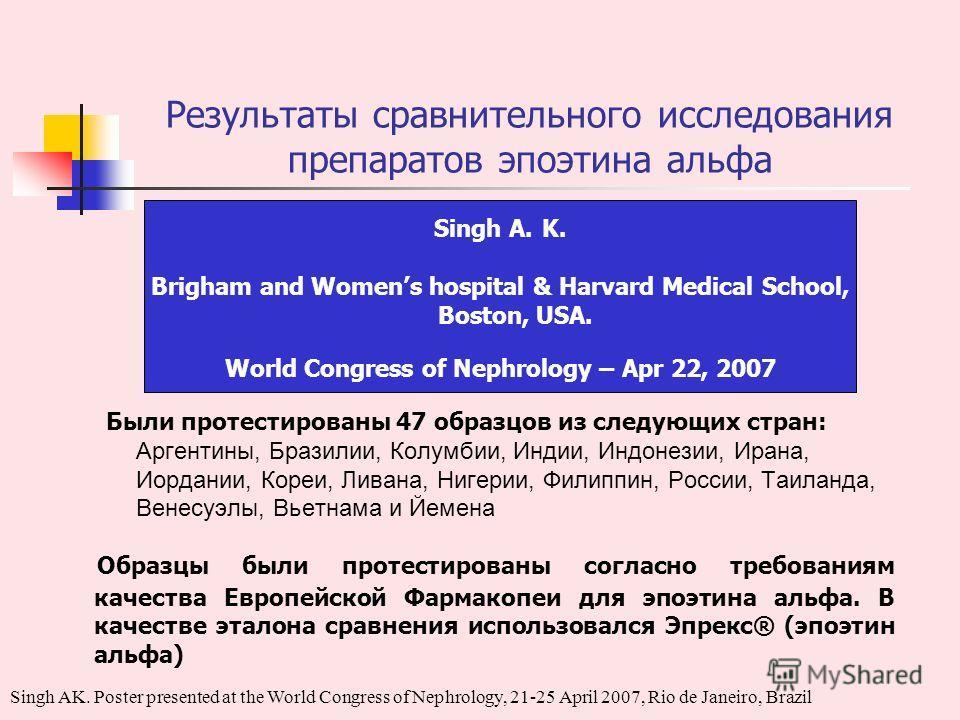 Результаты сравнительного исследования препаратов эпоэтина альфа Singh A. K. Brigham and Womens hospital & Harvard Medical School, Boston, USA. World Congress of Nephrology – Apr 22, 2007 Были протестированы 47 образцов из следующих стран: Аргентины,