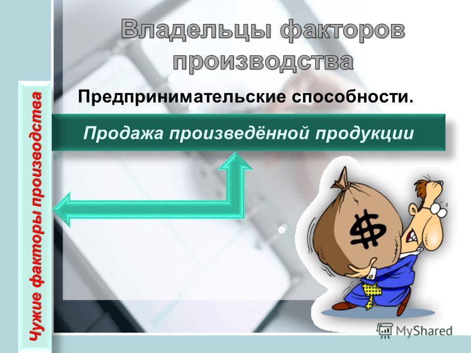 Предпринимательские способности. Продажа произведённой продукции Чужие факторы производства