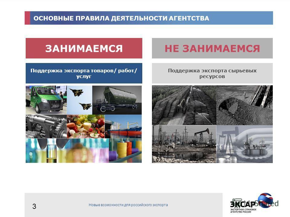 ОСНОВНЫЕ ПРАВИЛА ДЕЯТЕЛЬНОСТИ АГЕНТСТВА НЕ ЗАНИМАЕМСЯЗАНИМАЕМСЯ Поддержка экспорта товаров/ работ/ услуг Поддержка экспорта сырьевых ресурсов 3 Новые возможности для российского экспорта