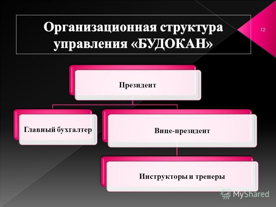 12 Президент Главный бухгалтер Вице-президент Инструкторы и тренеры