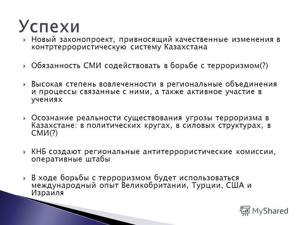 Новый законопроект, привносящий качественные изменения в контртеррористическую систему Казахстана Обязанность СМИ содействовать в борьбе с терроризмом(?) Высокая степень вовлеченности в региональные объединения и процессы связанные с ними, а также ак