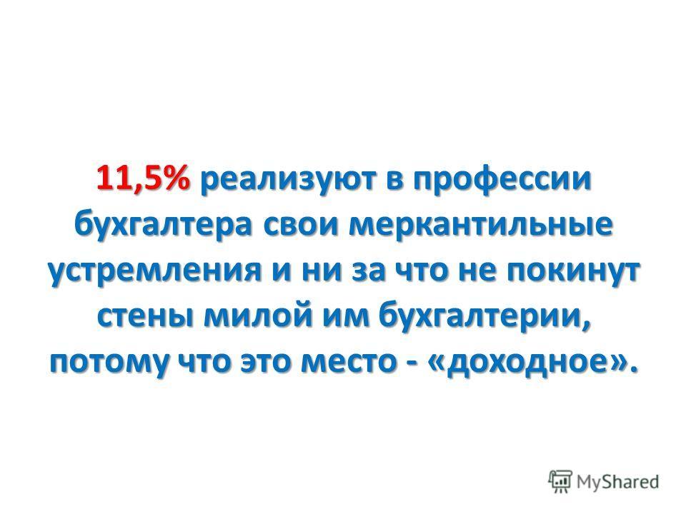 11,5% реализуют в профессии бухгалтера свои меркантильные устремления и ни за что не покинут стены милой им бухгалтерии, потому что это место - «доходное».