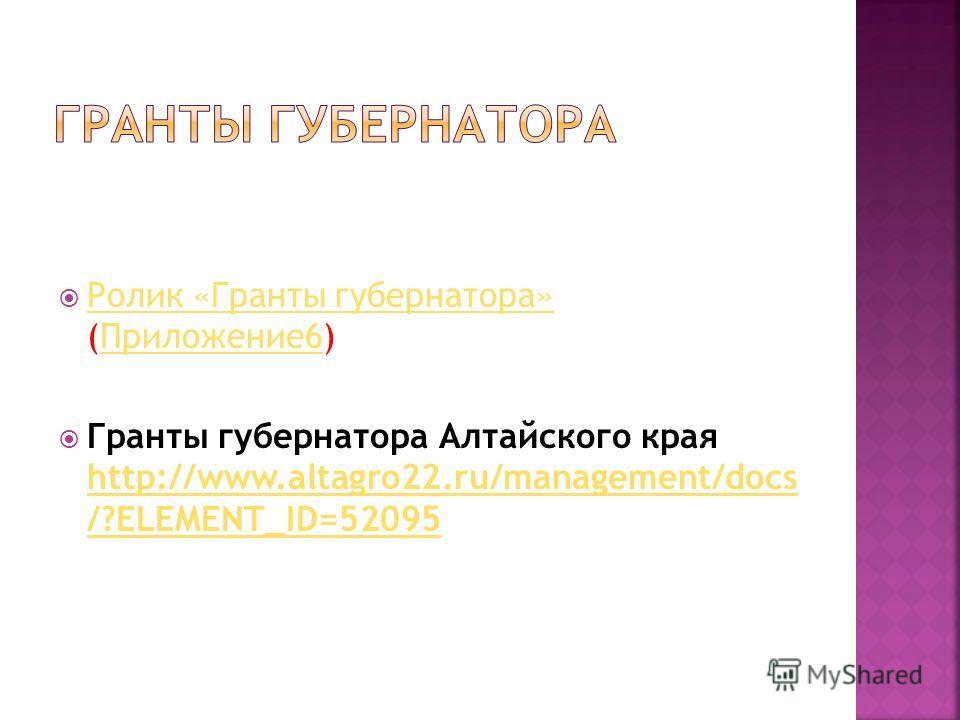 Ролик «Гранты губернатора» (Приложение6) Ролик «Гранты губернатора»Приложение6 Гранты губернатора Алтайского края http://www.altagro22.ru/management/docs /?ELEMENT_ID=52095 http://www.altagro22.ru/management/docs /?ELEMENT_ID=52095
