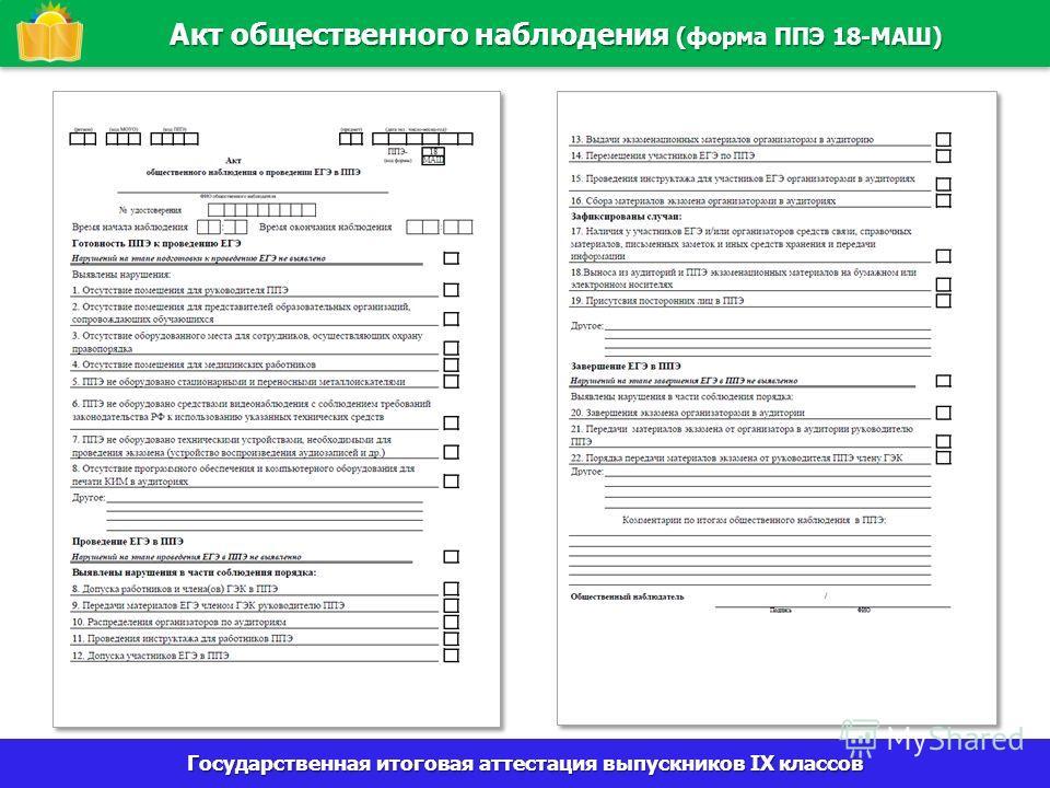 Государственная итоговая аттестация выпускников IX классов Акт общественного наблюдения (форма ППЭ 18-МАШ)