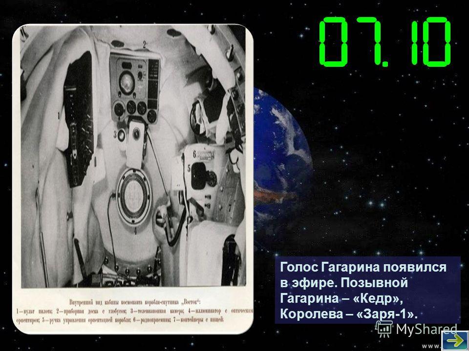 Голос Гагарина появился в эфире. Позывной Гагарина – «Кедр», Королева – «Заря-1».
