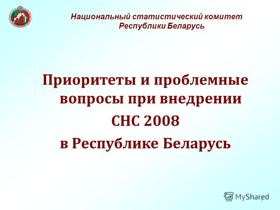 1 Приоритеты и проблемные вопросы при внедрении СНС 2008 в Республике Беларусь Национальный статистический комитет Республики Беларусь