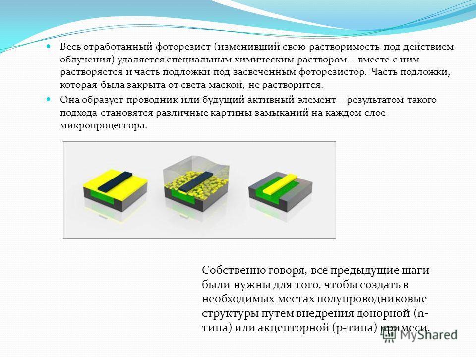 Весь отработанный фоторезист (изменивший свою растворимость под действием облучения) удаляется специальным химическим раствором – вместе с ним растворяется и часть подложки под засвеченным фоторезистор. Часть подложки, которая была закрыта от света м