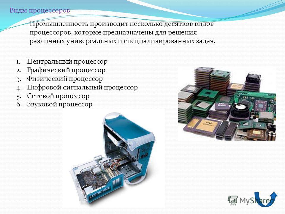 Виды процессоров Промышленность производит несколько десятков видов процессоров, которые предназначены для решения различных универсальных и специализированных задач. 1.Центральный процессор 2.Графический процессор 3.Физический процессор 4.Цифровой с
