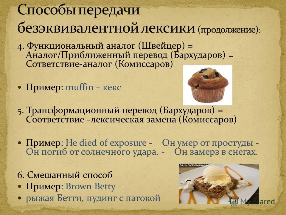 4. Функциональный аналог (Швейцер) = Аналог/Приближенный перевод (Бархударов) = Сответствие-аналог (Комиссаров) Пример: muffin – кекс 5. Трансформационный перевод (Бархударов) = Соответствие -лексическая замена (Комиссаров) Пример: He died of exposur