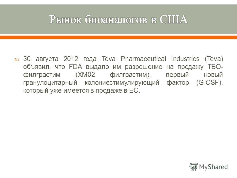 30 августа 2012 года Teva Pharmaceutical Industries (Teva) объявил, что FDA выдало им разрешение на продажу ТБО - филграстим (XM02 филграстим ), первый новый гранулоцитарный колониестимулирующий фактор (G-CSF), который уже имеется в продаже в ЕС.