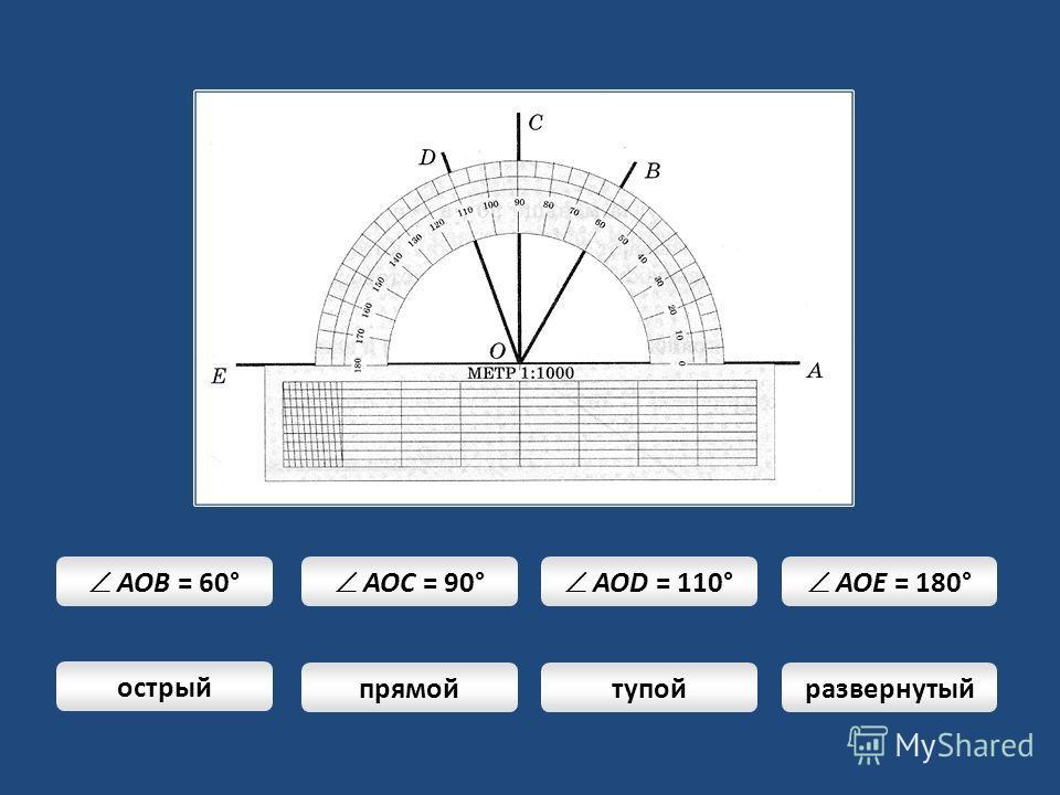 AOB = 60° AOC = 90° AOD = 110° AOE = 180° острый прямойтупойразвернутый
