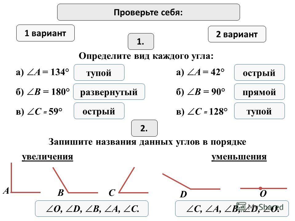 Проверьте себя: 1 вариант 2 вариант 1. Определите вид каждого угла: а) A = 134° Запишите названия данных углов в порядке б) B = 180° в) C = 59° тупой развернутый острый а) A = 42° б) B = 90° в) C = 128° острый прямой тупой 2.2. увеличенияуменьшения О