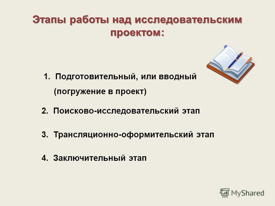 Этапы работы над исследовательским проектом: 1. Подготовительный, или вводный (погружение в проект) 3. Трансляционно-оформительский этап 4. Заключительный этап 2. Поисково-исследовательский этап