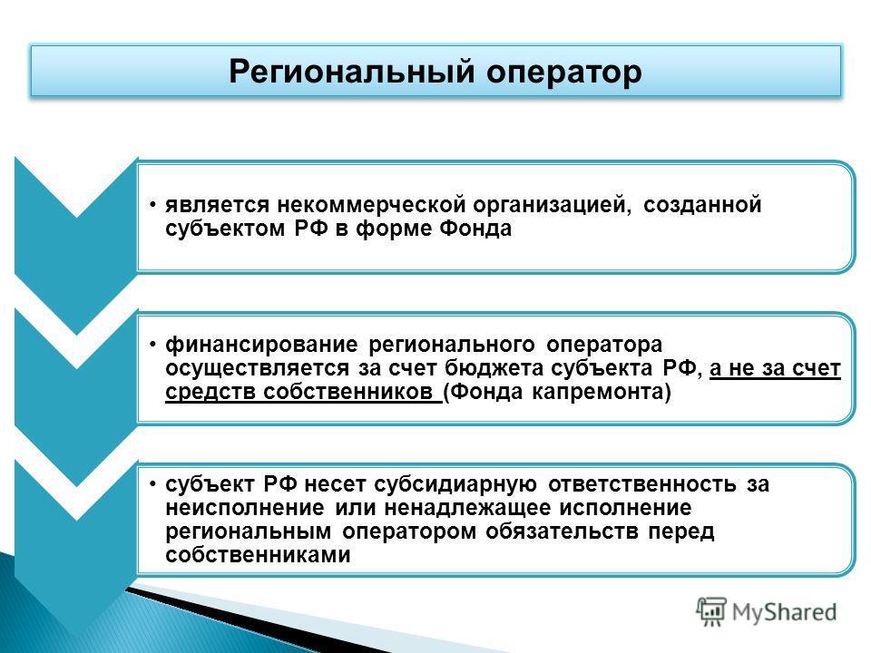 является некоммерческой организацией, созданной субъектом РФ в форме Фонда финансирование регионального оператора осуществляется за счет бюджета субъекта РФ, а не за счет средств собственников (Фонда капремонта) субъект РФ несет субсидиарную ответств