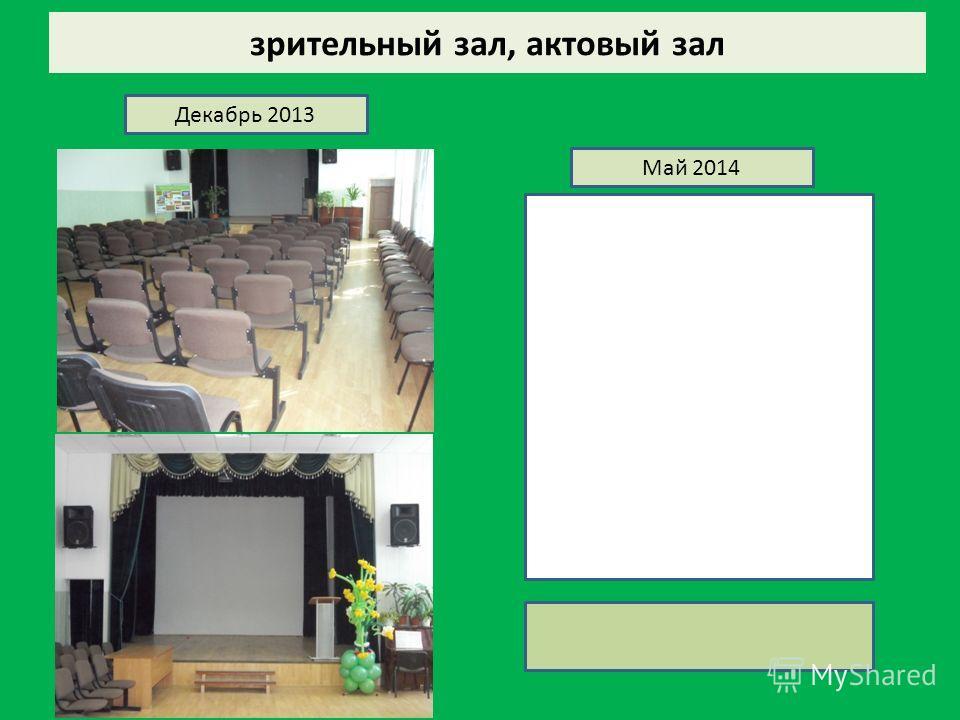 зрительный зал, актовый зал Декабрь 2013 Май 2014